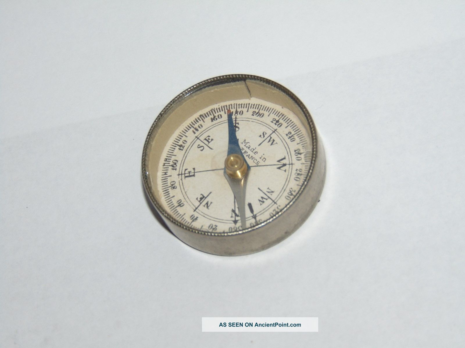 Antique French Metal Cased Pocket Compass With Mirror Panel Back Other Antique Science Equip photo