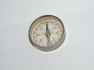 Antique French Metal Cased Pocket Compass With Mirror Panel Back photo
