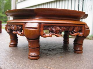 Chinese Hand Carved Footed Wood Display Stand For Statue; Lamp Very Detailed photo