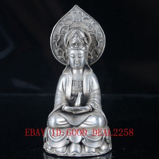 Old Silver Copper Handwork Carved Kwan - Yin Statue With Ming Dynasty Xuande Mark photo