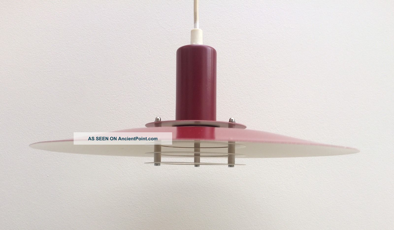 Lyfa 1970 ' S Danish Red & White Pendant Light Lamp Vintage Retro Fog & Morup 20th Century photo