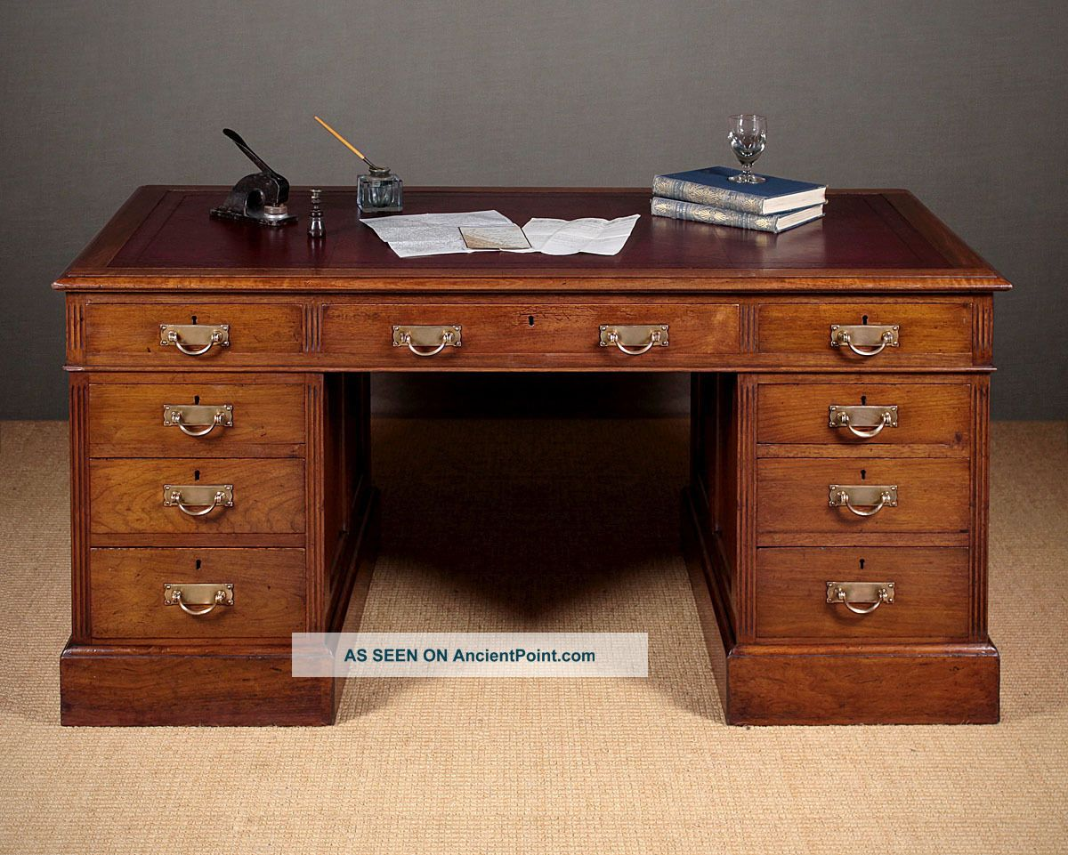 Antique Edwardian Walnut Desk C.  1910. Edwardian (1901-1910) photo