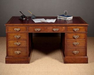 Antique Edwardian Walnut Desk C.  1910. photo