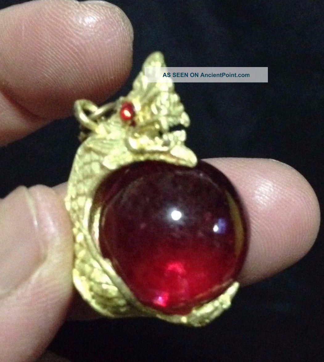 Eye Rare Button Thai Amulet Crystal Talisman Power Rich Lucky Red Pendant Naga Amulets photo