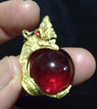 Eye Rare Button Thai Amulet Crystal Talisman Power Rich Lucky Red Pendant Naga photo