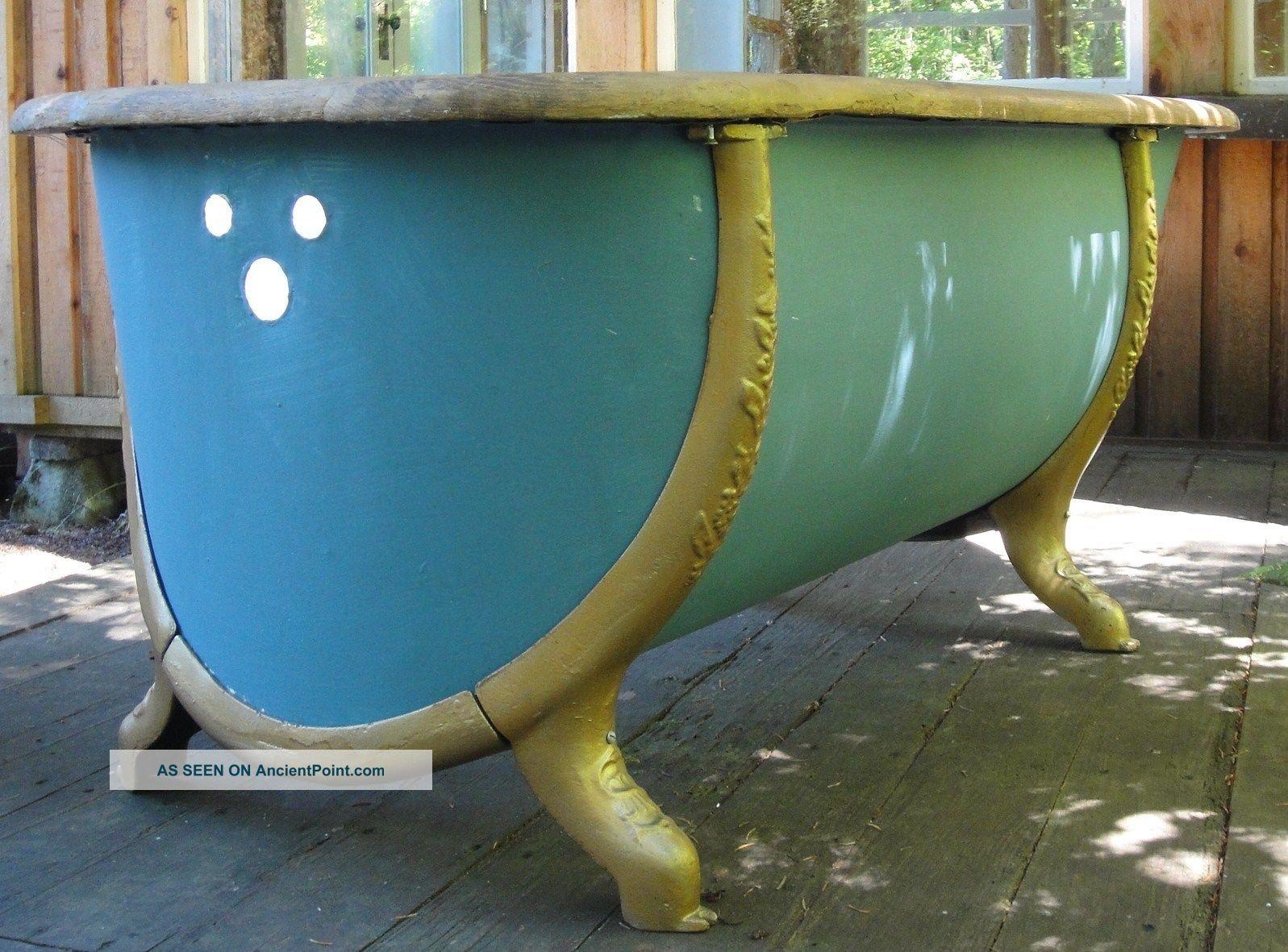 Antique Zinc Bathtub With Oak Rim And Cast Iron Surround Legs Bath Tubs photo