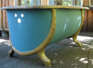 Antique Zinc Bathtub With Oak Rim And Cast Iron Surround Legs photo