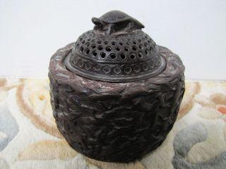 Antique Ming Dynasty Xuande Bronze Hundred Longevity Crane Turtle Incense Burner photo