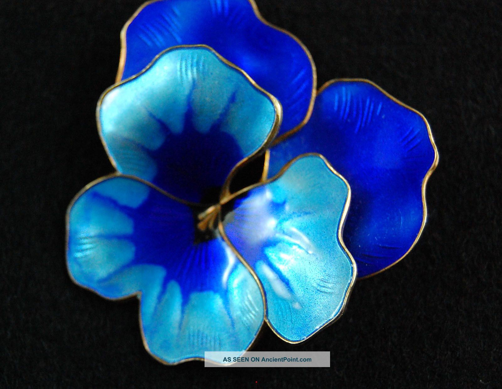 David - Andersen Modernism Enamel Blue Pansy Flower Brooch Pin Norway 925s Mid-Century Modernism photo