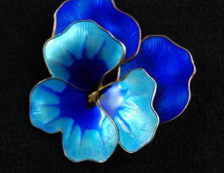 David - Andersen Modernism Enamel Blue Pansy Flower Brooch Pin Norway 925s photo