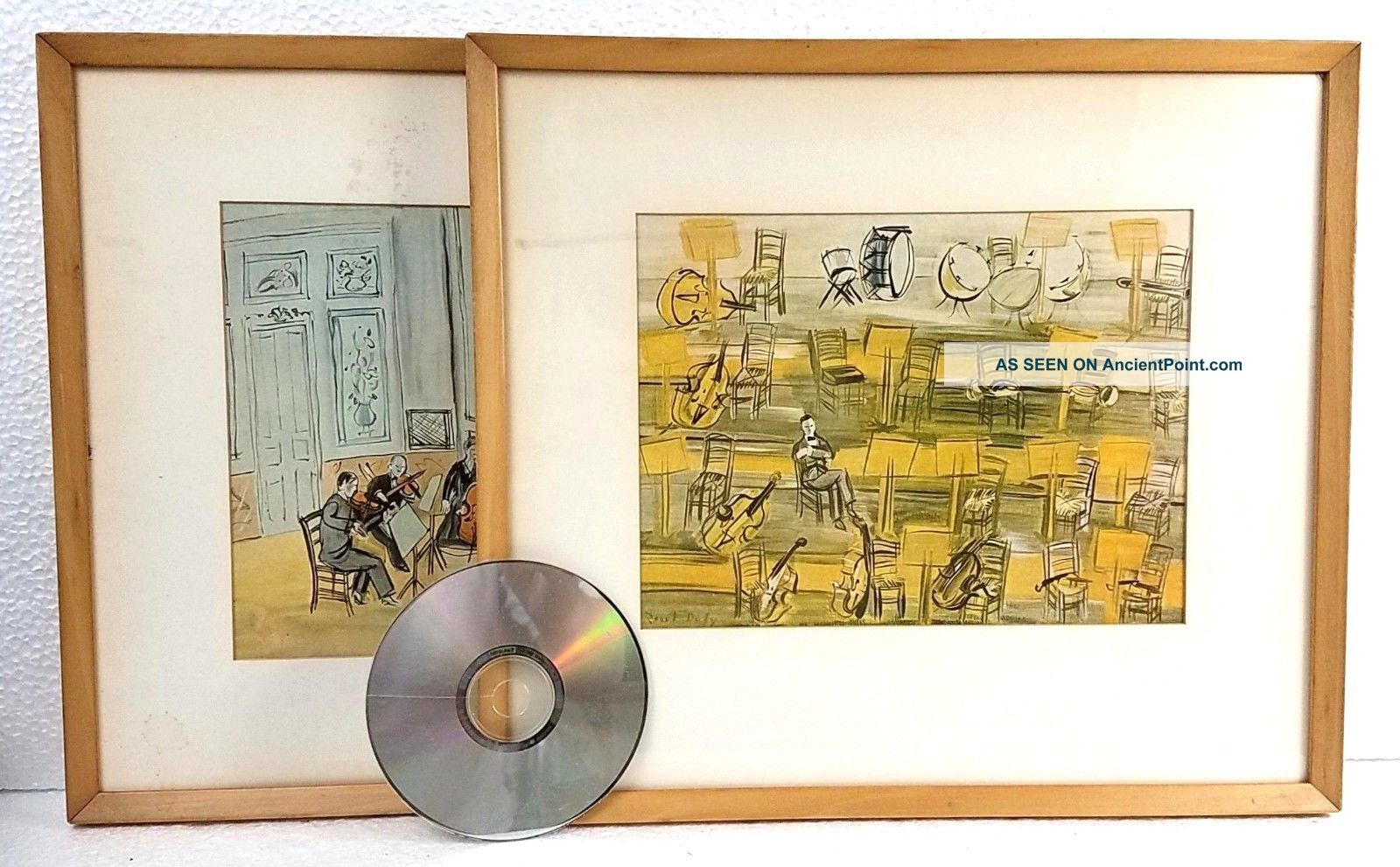 2 Vintage Raoul Dufy Chamber And Full Orchestra Prints Framed 1950s Mid Century Mid-Century Modernism photo