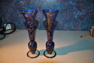 2 Antique Cobalt Glass Bud Vases With Silverplated Floral Overlay photo