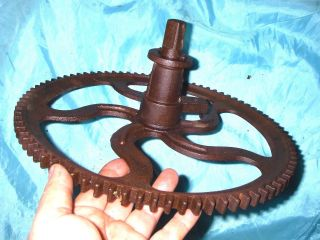 13  Grain Mill Wheel Primitive Cast Iron Gear Vintage Barn Industrial Punk photo