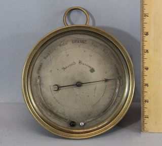 Antique 19thc Brass Aneroid Barometer Thermometer Centigrade & Fahrenheit,  Nr photo