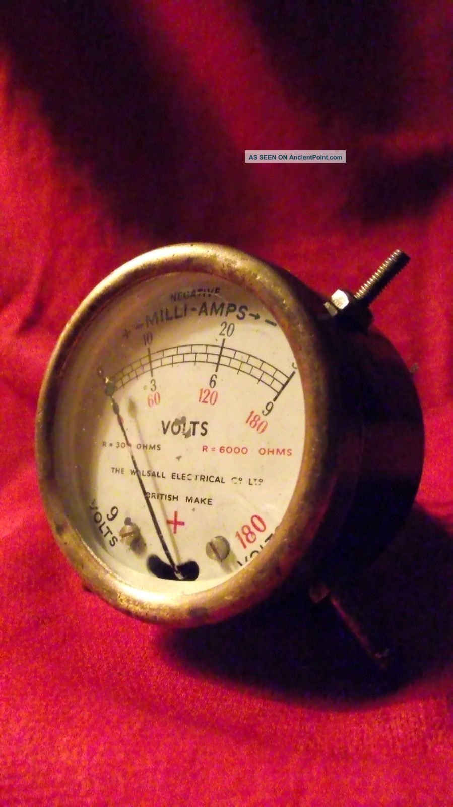 Vintage Walsall Electrical Co Mini Voltmeter 9 & 180v Rare Other Antique Science Equip photo