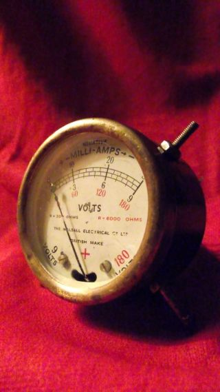 Vintage Walsall Electrical Co Mini Voltmeter 9 & 180v Rare photo
