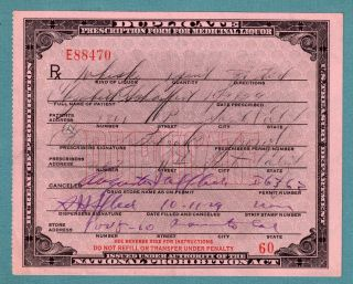 Prohibition Prescription Whiskey Antique Doctor Pharmacist Gift Medical Bar 1929 photo