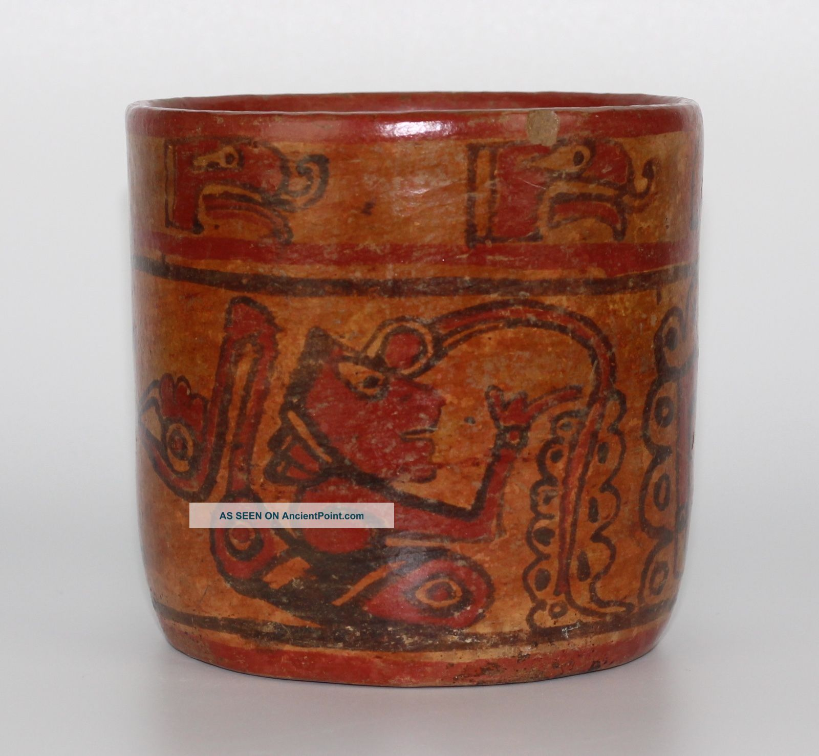 Ancient Mayan Copador Ceramic Cylinder Vessel Flash Now Active The Americas photo