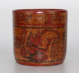Ancient Mayan Copador Ceramic Cylinder Vessel Flash Now Active photo