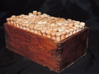 Vintage Nw Yeast Wood Dovetailed Box & 125 Wood Clothes Pins Laundry Decor photo