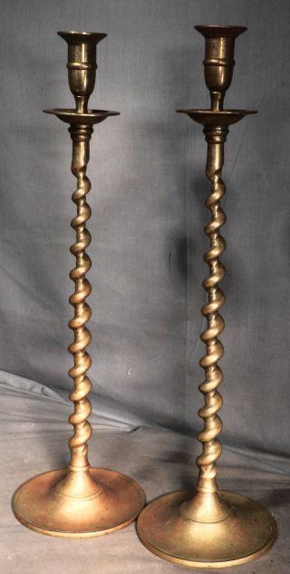 "Pair Tall Antique Edwardian Victorian Brass Baroque Twist Candlestick 19"" Barley photo"