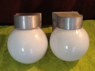 Pair Vintage Mid Century Industrial Outdoor Light Sconce Fixtures photo