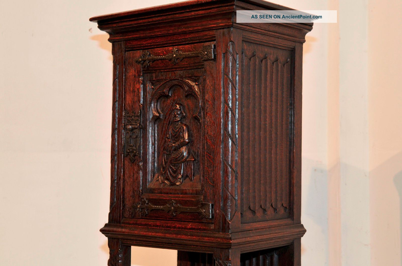French Gothic Cabinet,  Pedestal For Statue Or Display Antique Oak W/ Carved Door Other Antique Furniture photo