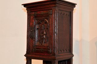 French Gothic Cabinet,  Pedestal For Statue Or Display Antique Oak W/ Carved Door photo