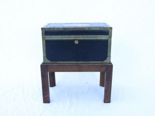 Vtg Italian Brass And Leather Chest On Stand Oak,  Side Table Designer Rare Italy photo