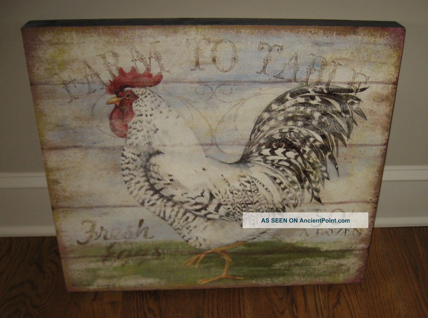 Big Rooster Chicken Eggs Wood Picture Primitive/french Country Farmhouse Decor Primitives photo