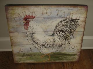 Big Rooster Chicken Eggs Wood Picture Primitive/french Country Farmhouse Decor photo
