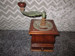 Vintage Antique Hand Crank Table Top Coffee Grinder W/dovetailed Drawer photo