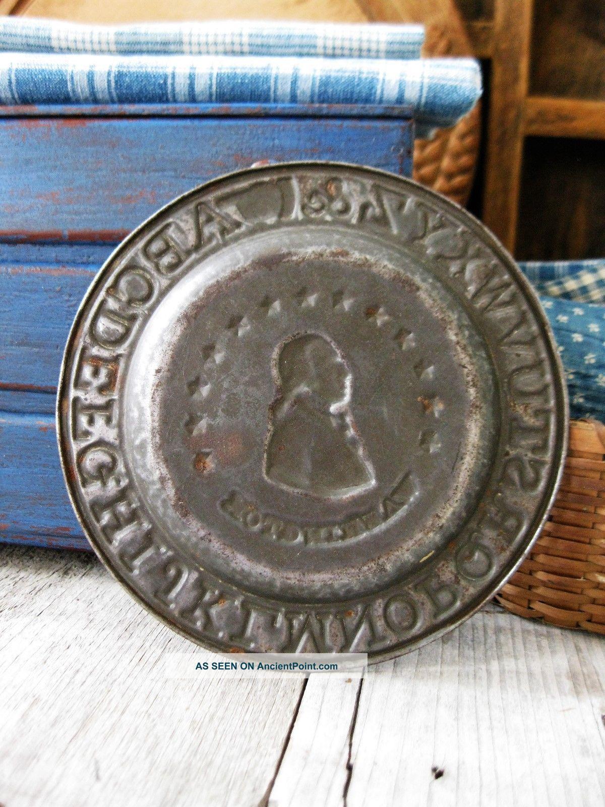 Early Antique Tin Abc Alphabet Plate George Washington Primitives photo