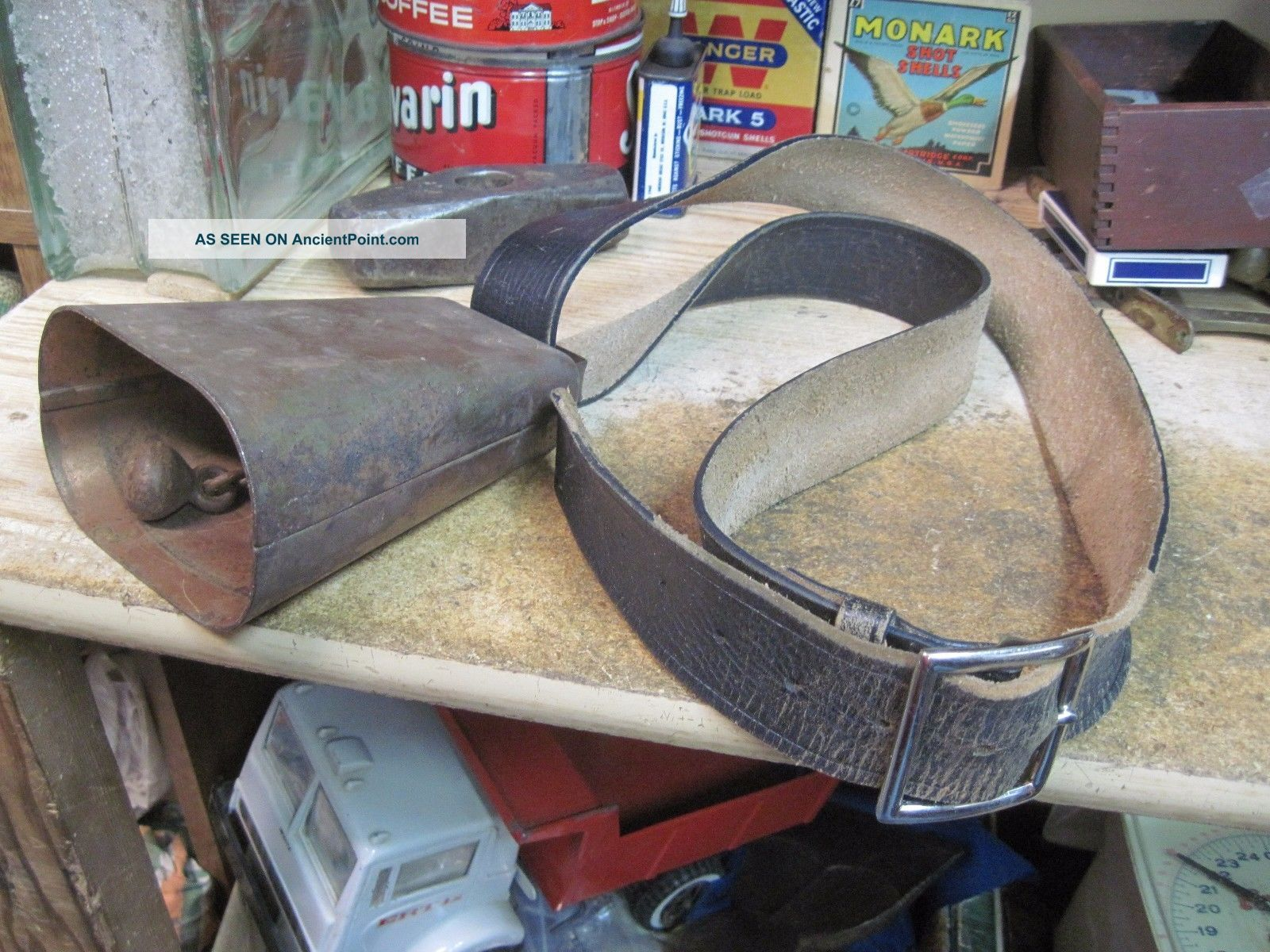 Antique Cow Goat Bell Neck Strap Metal Forged Primitive Farm Tool Iron Bronzed Primitives photo