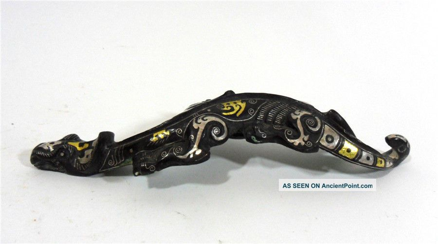 Bronze Gold And Silver Inlaid Belt Buckle Hook Animal Figure Other Chinese Antiques photo
