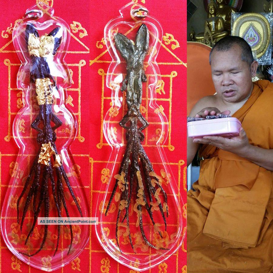 Rare Mystery 2 Head 9 Tails Gecko Lizard Thai Khmer Magic Buddha Gambler Amulet Amulets photo