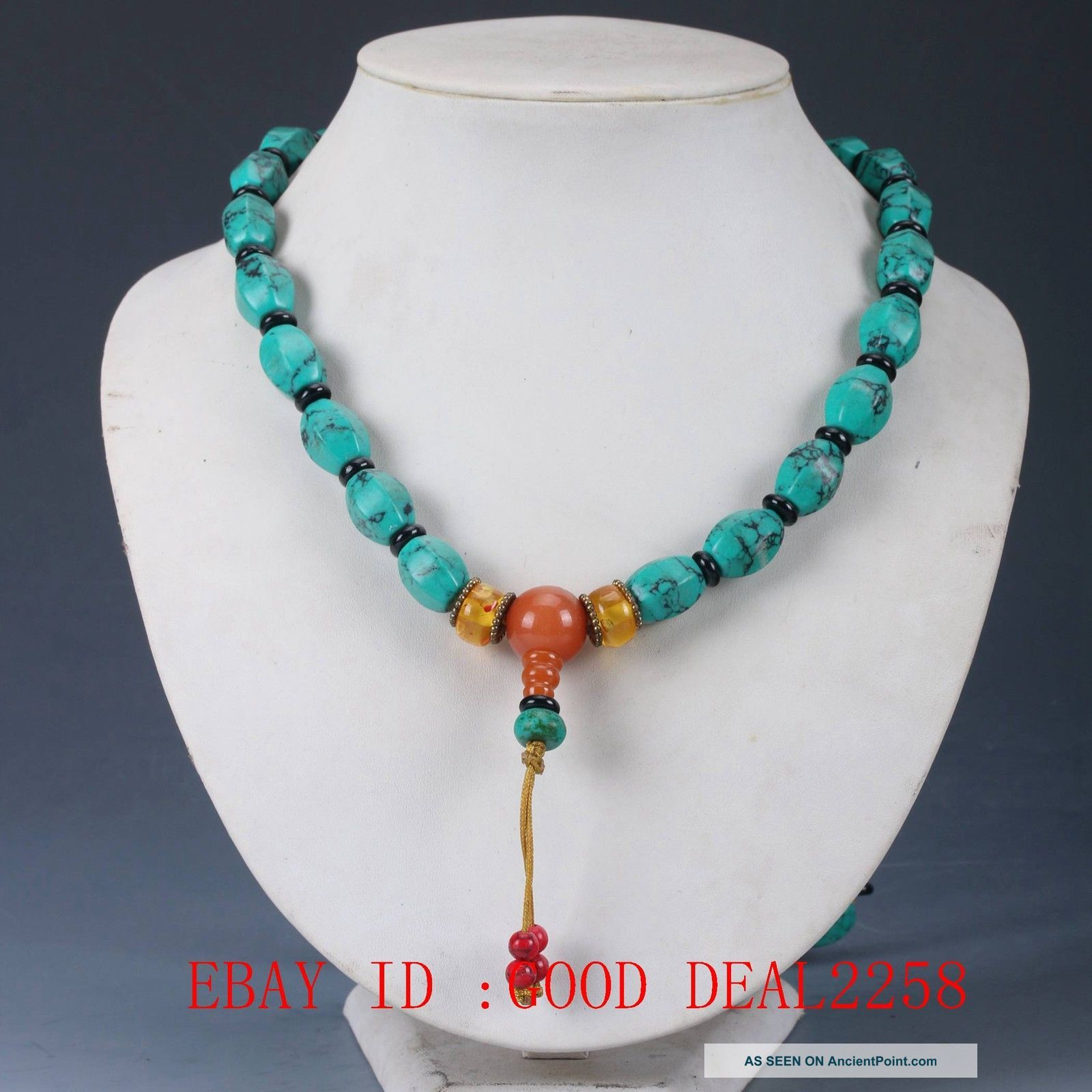 100 Natural Turquoise & Beeswax Handwork Decoration Necklaces Xl015 Necklaces & Pendants photo