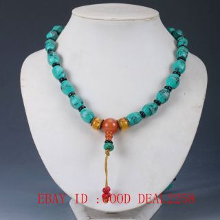 100 Natural Turquoise & Beeswax Handwork Decoration Necklaces Xl015 photo