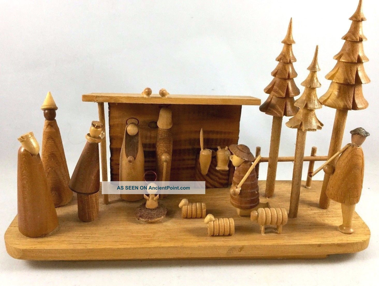Vintage Hand Made Wood Nativity Scene - Hand Carved Wooden Scene Made In Poland Carved Figures photo