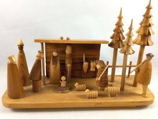 Vintage Hand Made Wood Nativity Scene - Hand Carved Wooden Scene Made In Poland photo