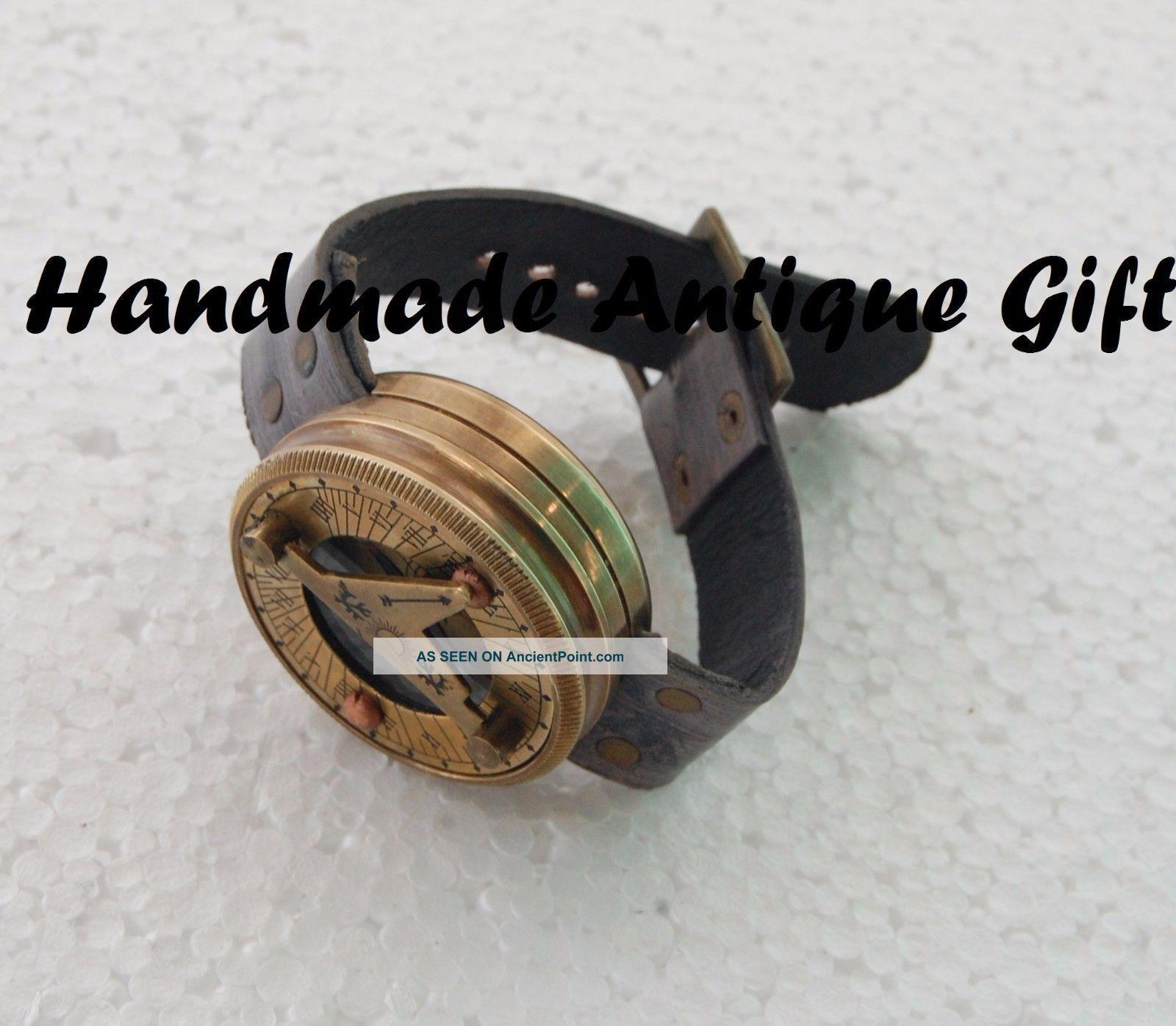 Brass Wrist Watch Maritime Marine Compass Sundial Compass Brass Compass Gift Compasses photo