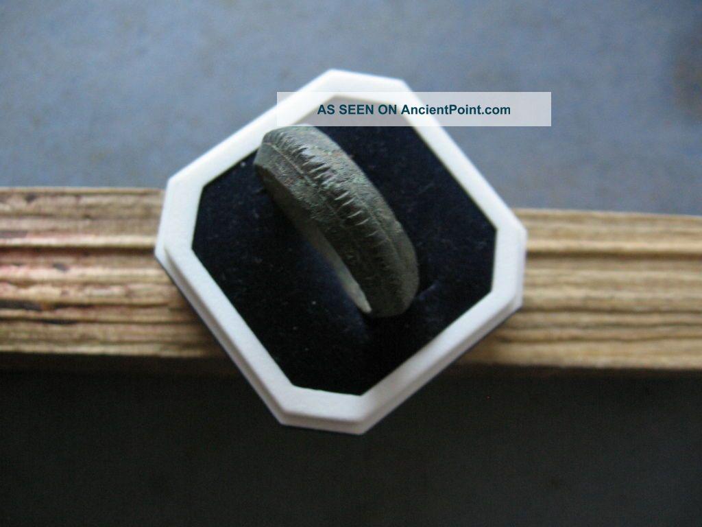 Unique Ribbed Ancient Celtic Bronze Engraved Finger Ring 500 - 300 B.  C. Celtic photo