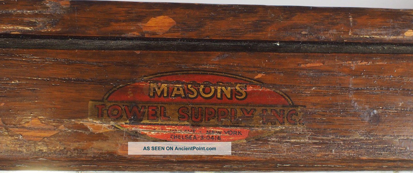 Antique Mason ' S Towel Supply Co Wood Medicine Bathroom Cabinet W/ Towel Rack Vtg 1900-1950 photo