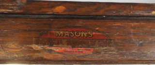 Antique Mason ' S Towel Supply Co Wood Medicine Bathroom Cabinet W/ Towel Rack Vtg photo