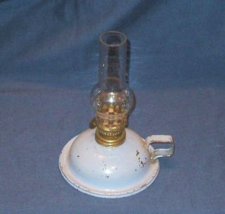 Vintage Pale Blue Finger / Chamberstick Oil Paraffin Oil Lamp photo