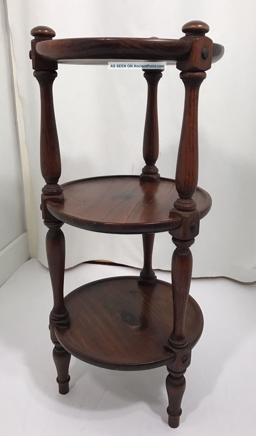 Ethan Allen Round Pine Wood 3 Tier Table Vintage Post-1950 photo