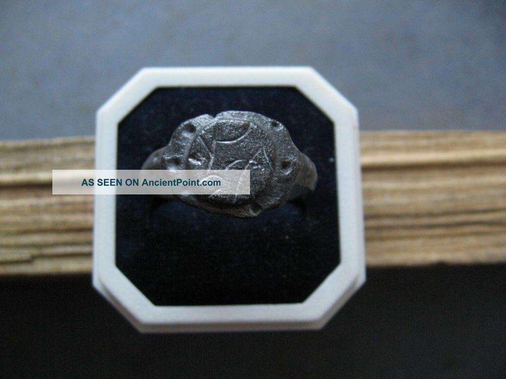 Rune Symbols Ancient Celtic Billon Silver Engraved Ring 200 - 50 B.  C. Celtic photo