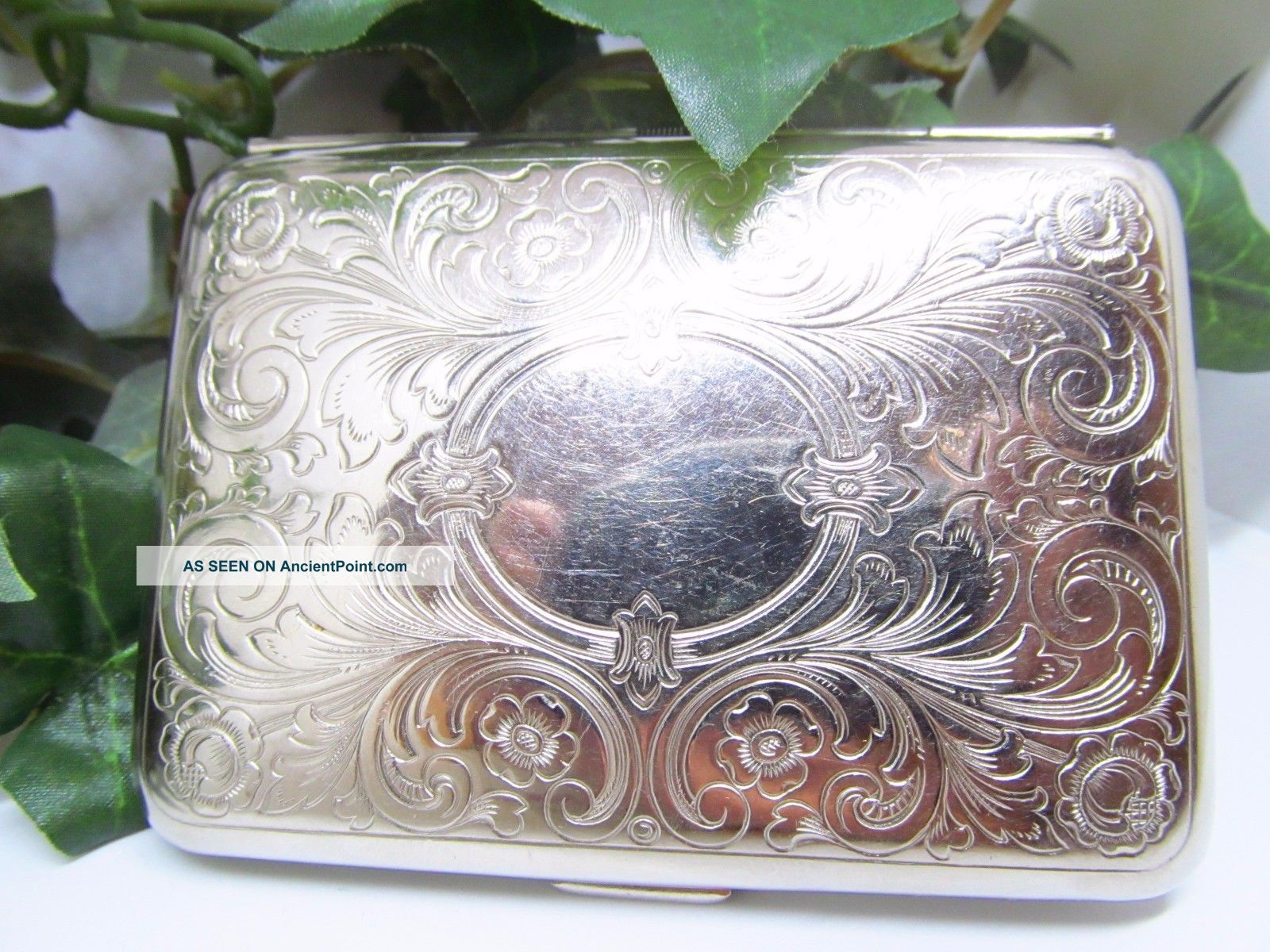 Vintage Stamped Germany German Silver Business Card Case Etched German Silver Card Cases photo