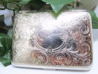 Vintage Stamped Germany German Silver Business Card Case Etched German Silver photo