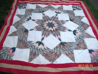 Antique 1930 ' S Or Older Star Pattern Hand Stitched Cotton Quilt 88